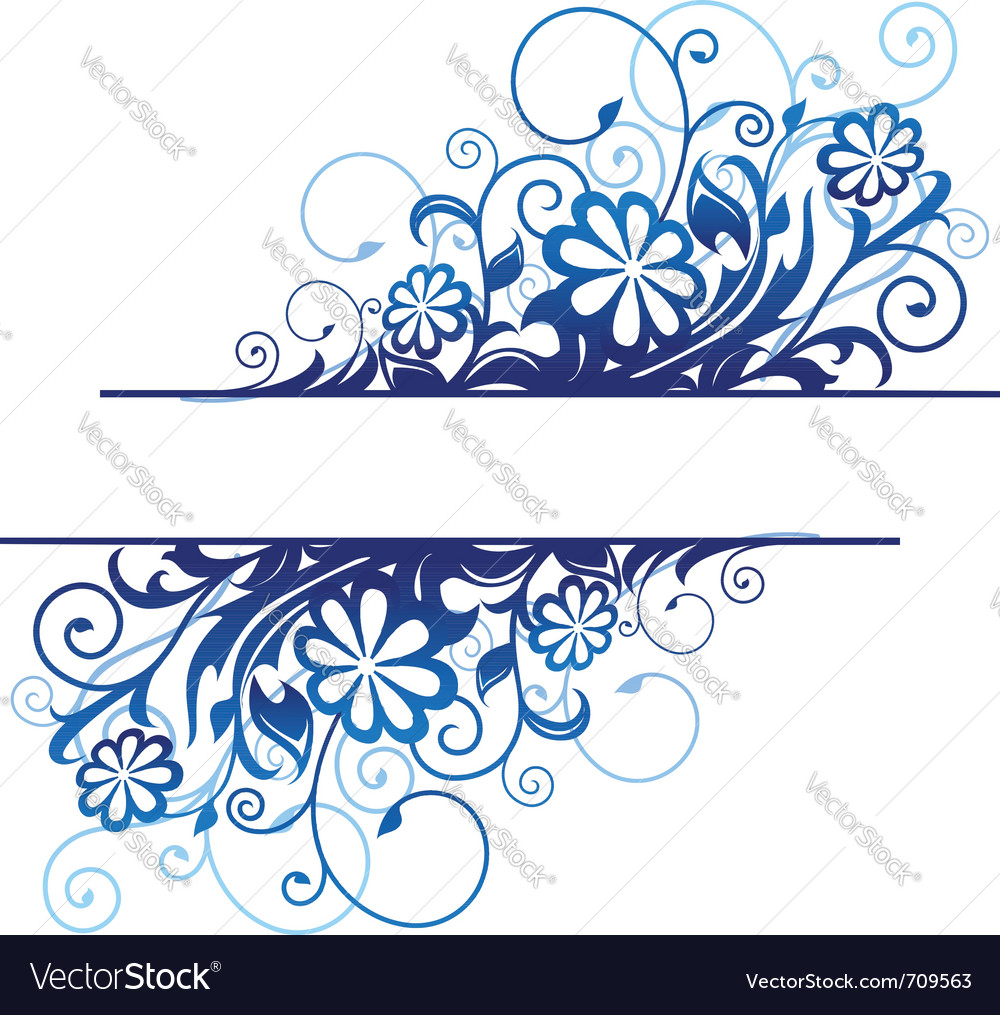 Blue floral borders vector | Price: 1 Credit (USD $1)