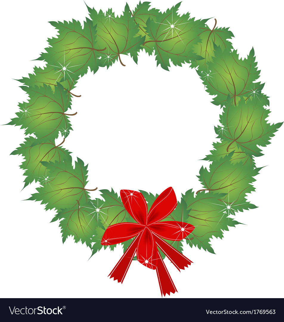 Christmas wreath of green maple leaves and bows vector | Price: 1 Credit (USD $1)