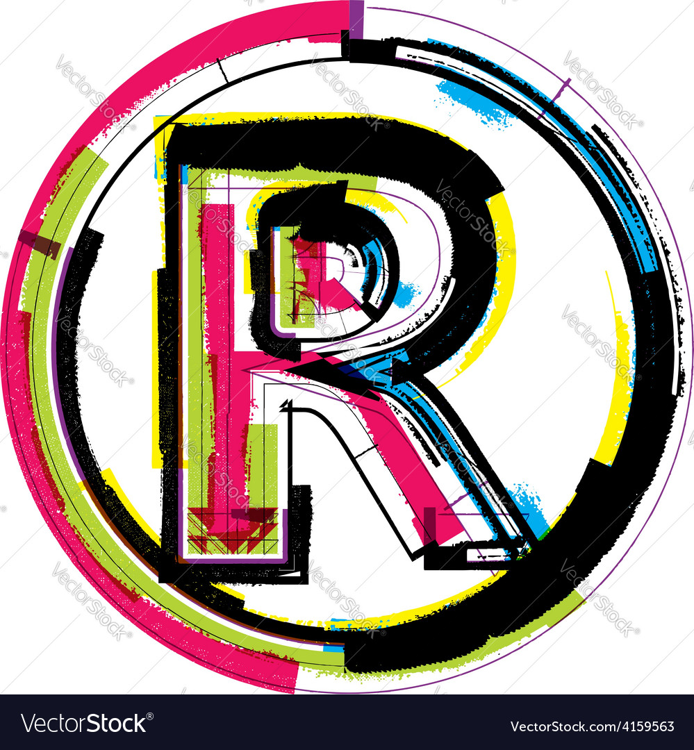 Colorful grunge font letter r vector | Price: 1 Credit (USD $1)