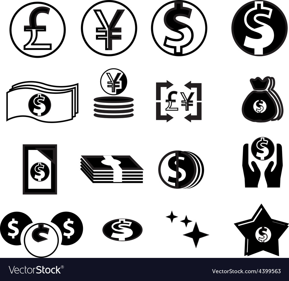 Currency icons set vector | Price: 1 Credit (USD $1)