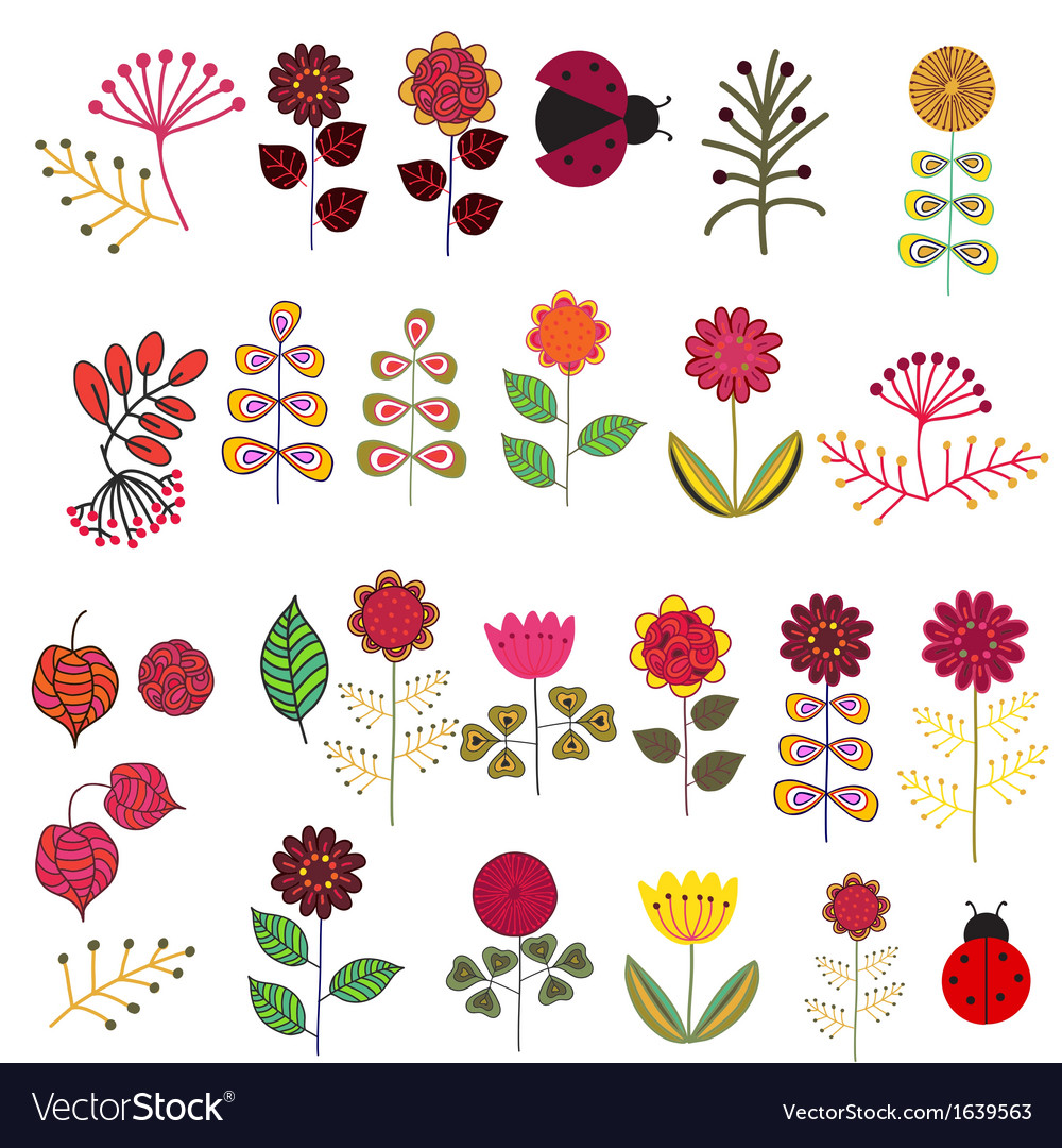 Doodle flowers set vector | Price: 1 Credit (USD $1)