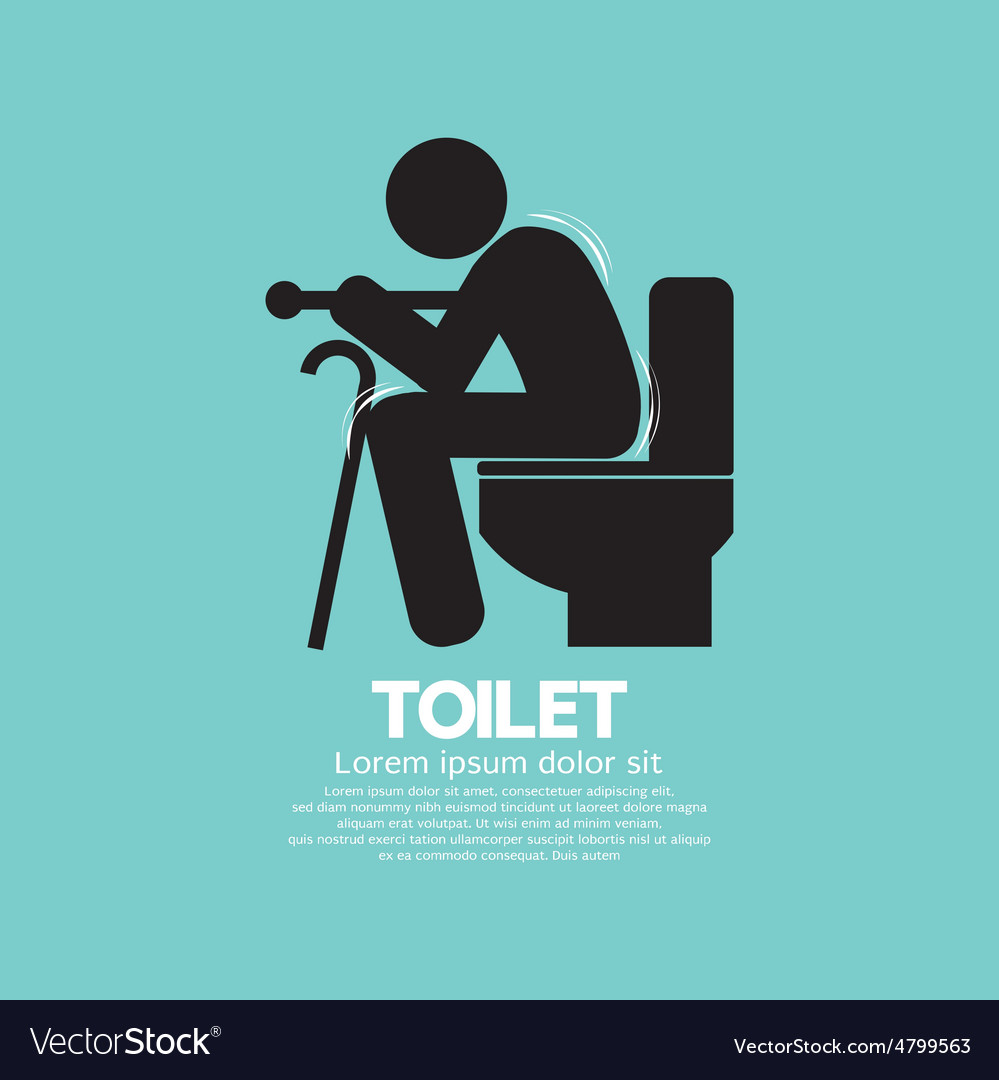 Elderly with walking stick toilet sign vector | Price: 1 Credit (USD $1)