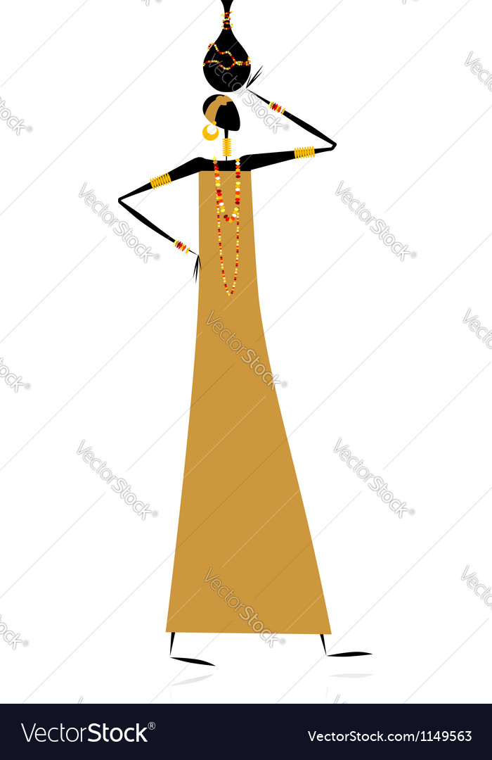 Ethnic woman with jug vector | Price: 1 Credit (USD $1)
