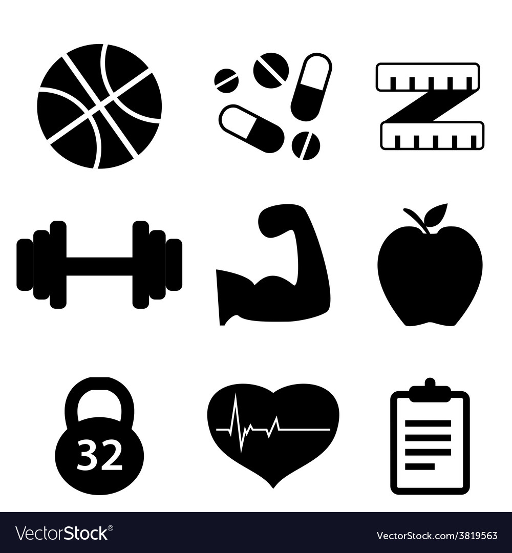 Icons set fitness vector | Price: 1 Credit (USD $1)