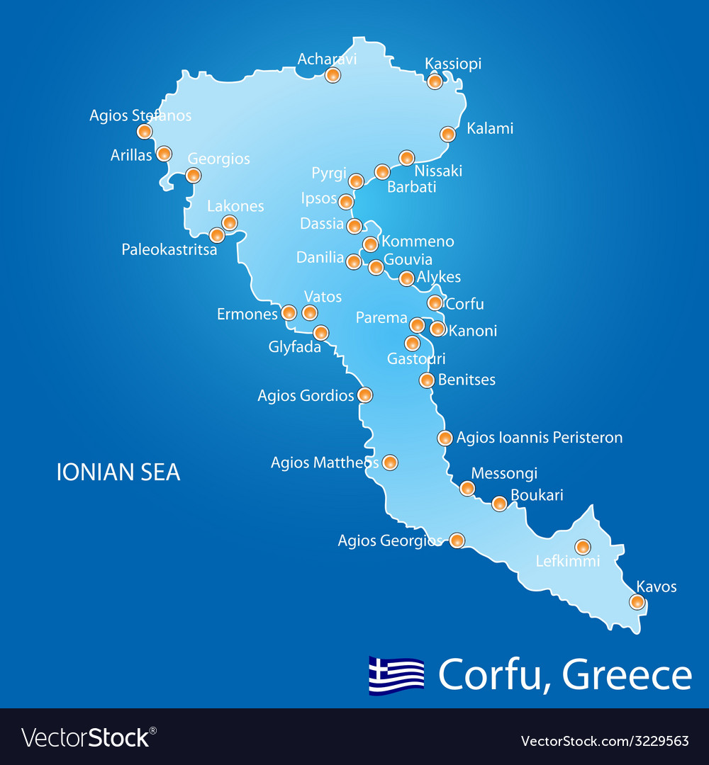 Island of corfu in greece vector | Price: 1 Credit (USD $1)