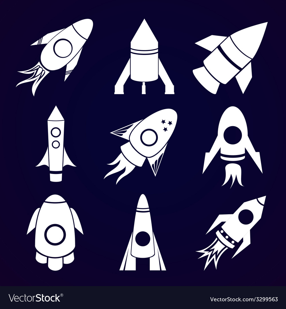 Rockets icons set on space background vector | Price: 1 Credit (USD $1)