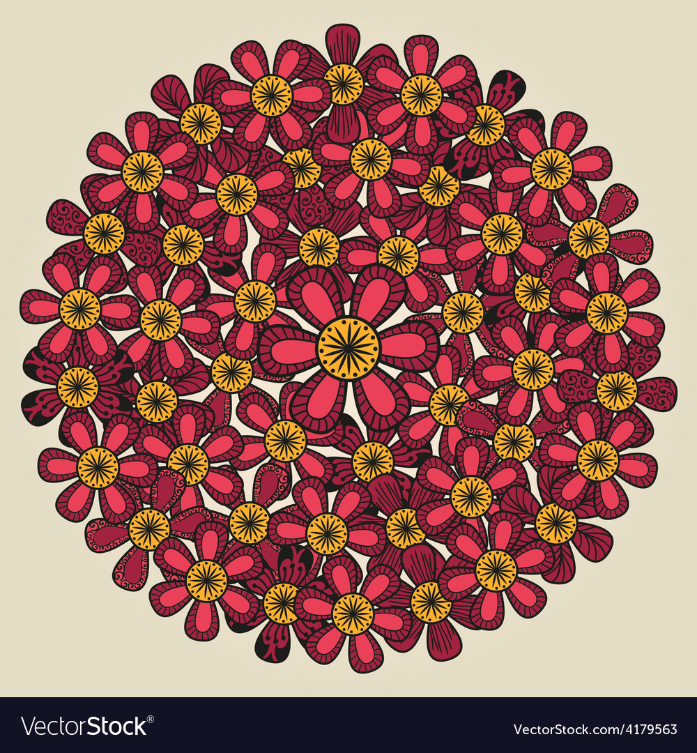 Round floral ornament like bouquet of red flowers vector | Price: 1 Credit (USD $1)