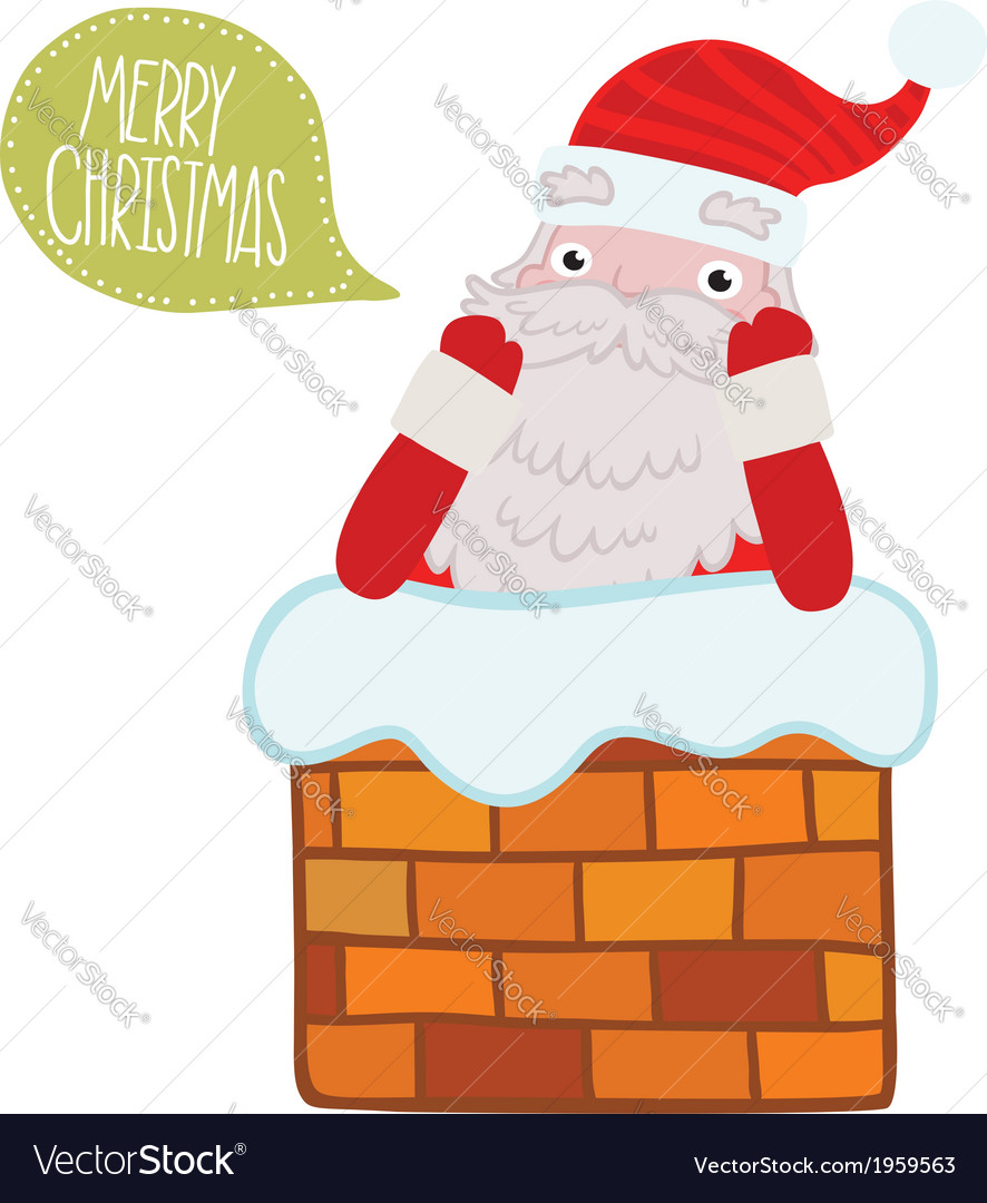 Santa claus stuck in the chimney vector | Price: 1 Credit (USD $1)