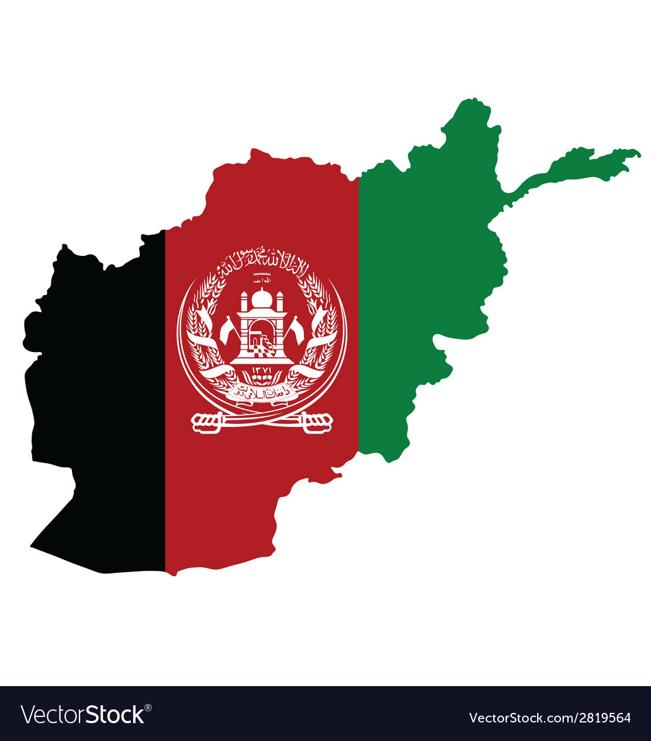 Afghanistan map flag vector | Price: 1 Credit (USD $1)