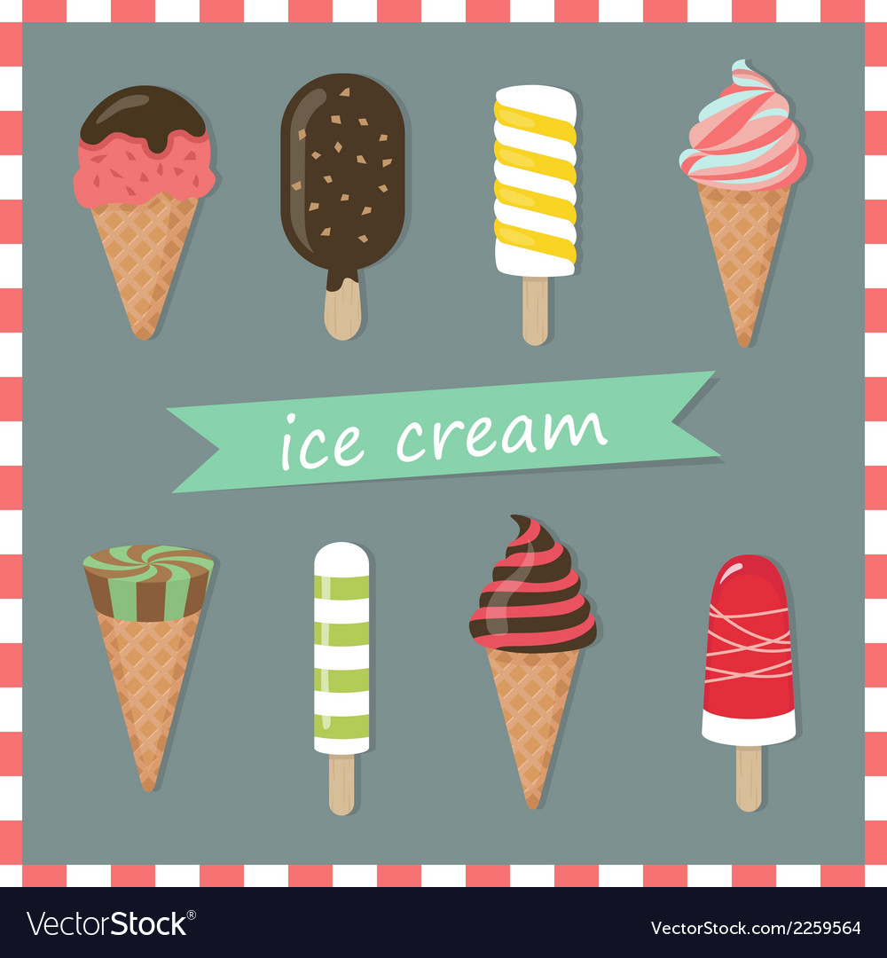 Assorted ice creams vector | Price: 1 Credit (USD $1)