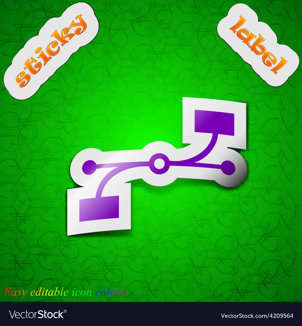 Bezier curve icon sign symbol chic colored sticky vector   Price: 1 Credit (USD $1)