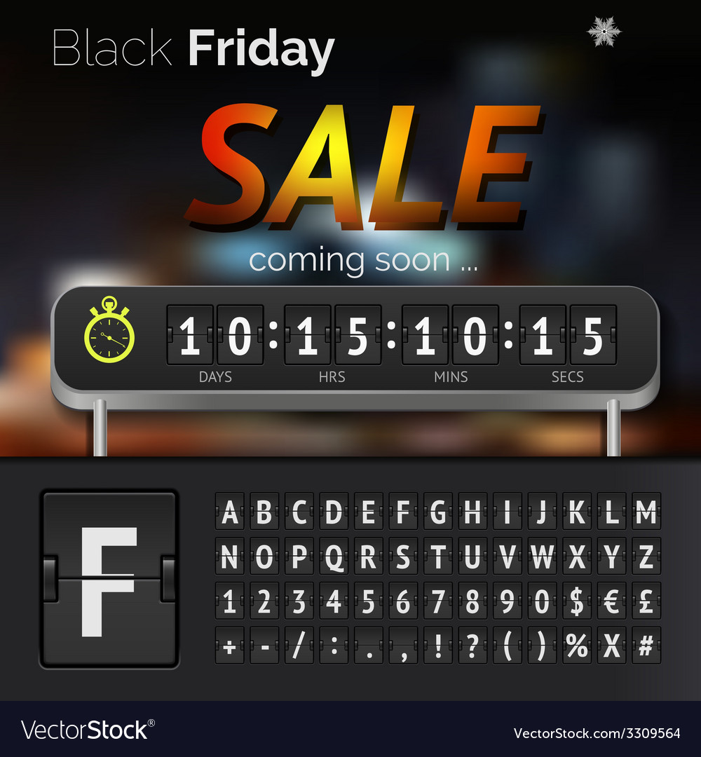 Black friday sale countdown timer vector | Price: 1 Credit (USD $1)