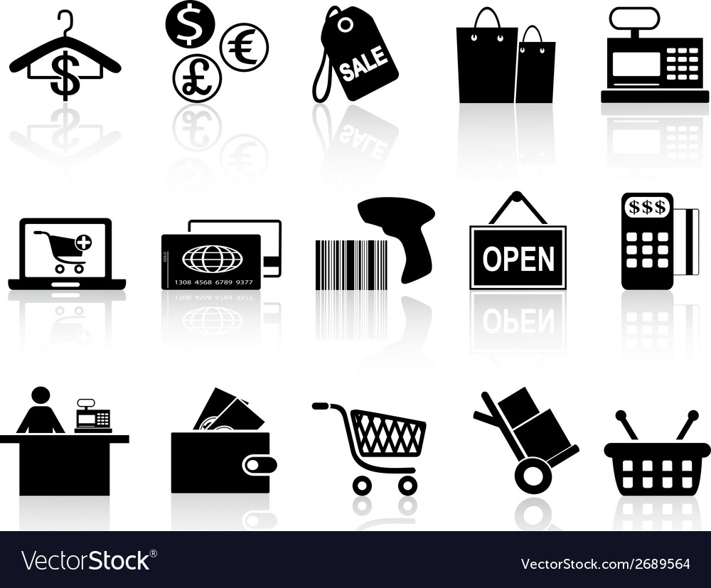 Black retail and shopping icons set vector | Price: 1 Credit (USD $1)