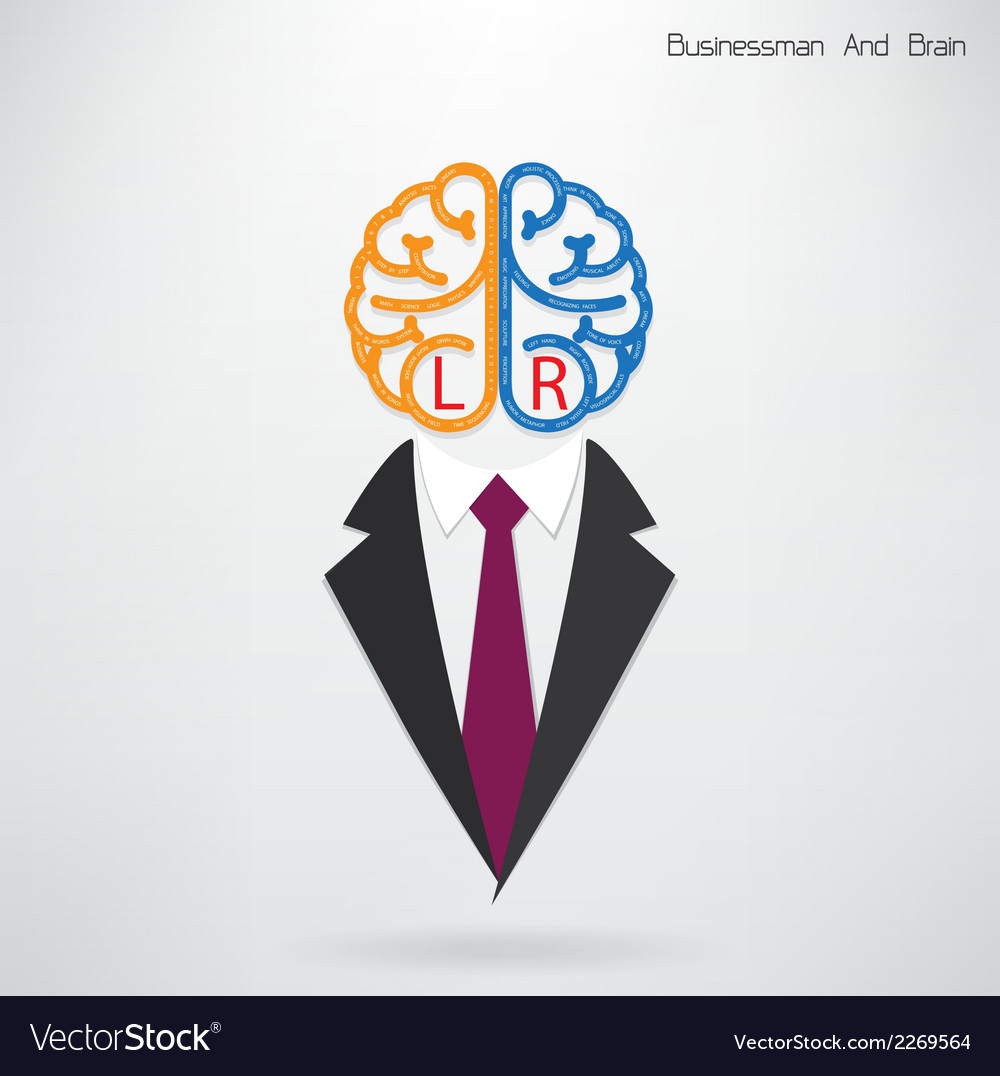 Businessman symbol with left and right brain sign vector | Price: 1 Credit (USD $1)