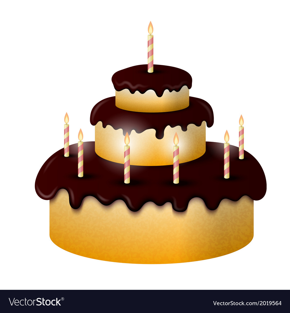 Celebratory chocolate cake with burning candles vector | Price: 1 Credit (USD $1)