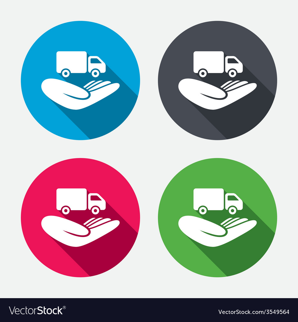 Company vehicles insurance sign hand hold truck vector | Price: 1 Credit (USD $1)