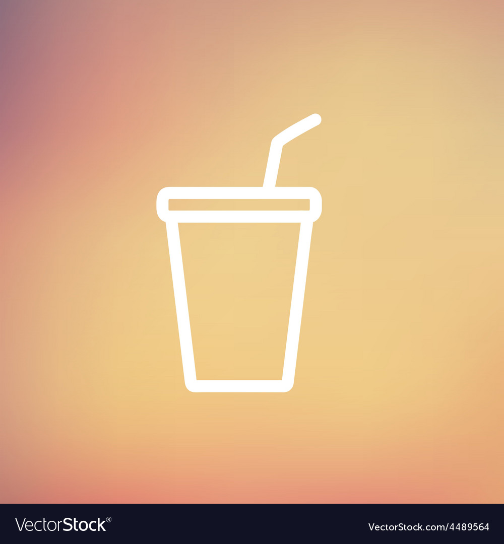 Disposable cup with lid and straw thin line icon vector | Price: 1 Credit (USD $1)