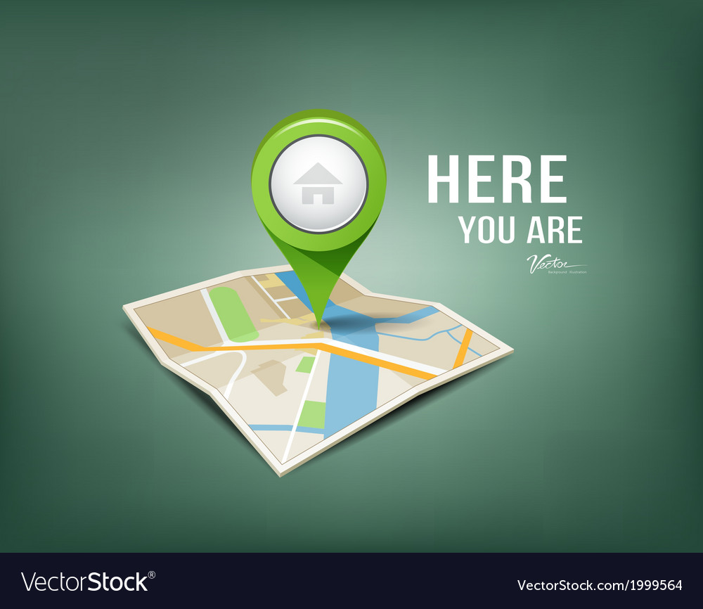 Folded maps with green color point markers vector | Price: 1 Credit (USD $1)