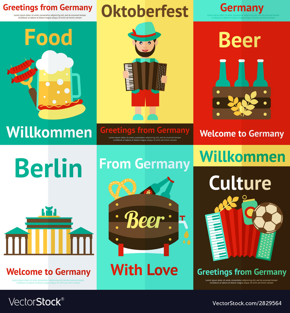 Germany travel retro poster set vector | Price: 1 Credit (USD $1)