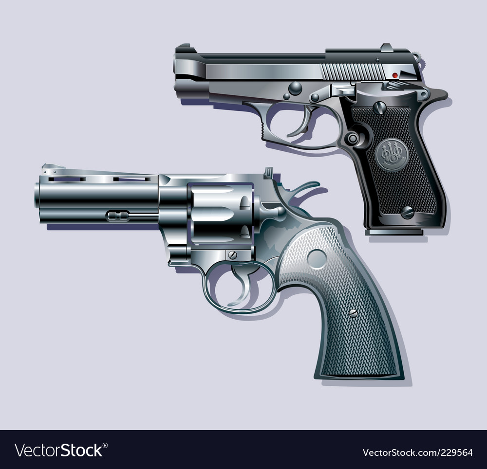 Machine pistol and revolver vector | Price: 3 Credit (USD $3)