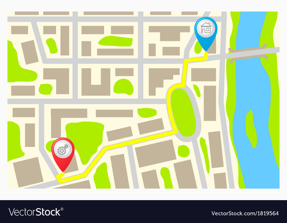 The route on the map of the city vector | Price: 1 Credit (USD $1)