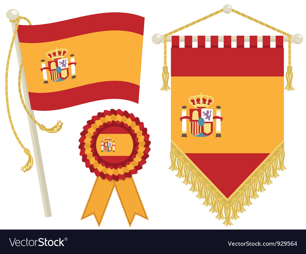 Spain flags vector | Price: 1 Credit (USD $1)