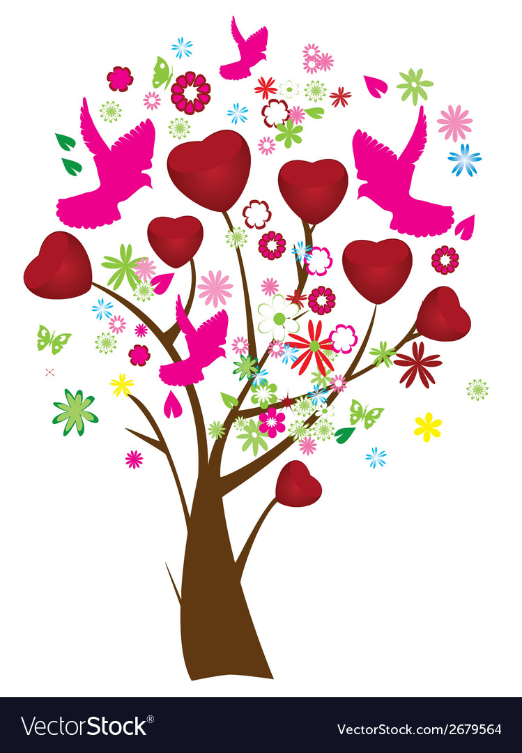 Valentine tree vector | Price: 1 Credit (USD $1)