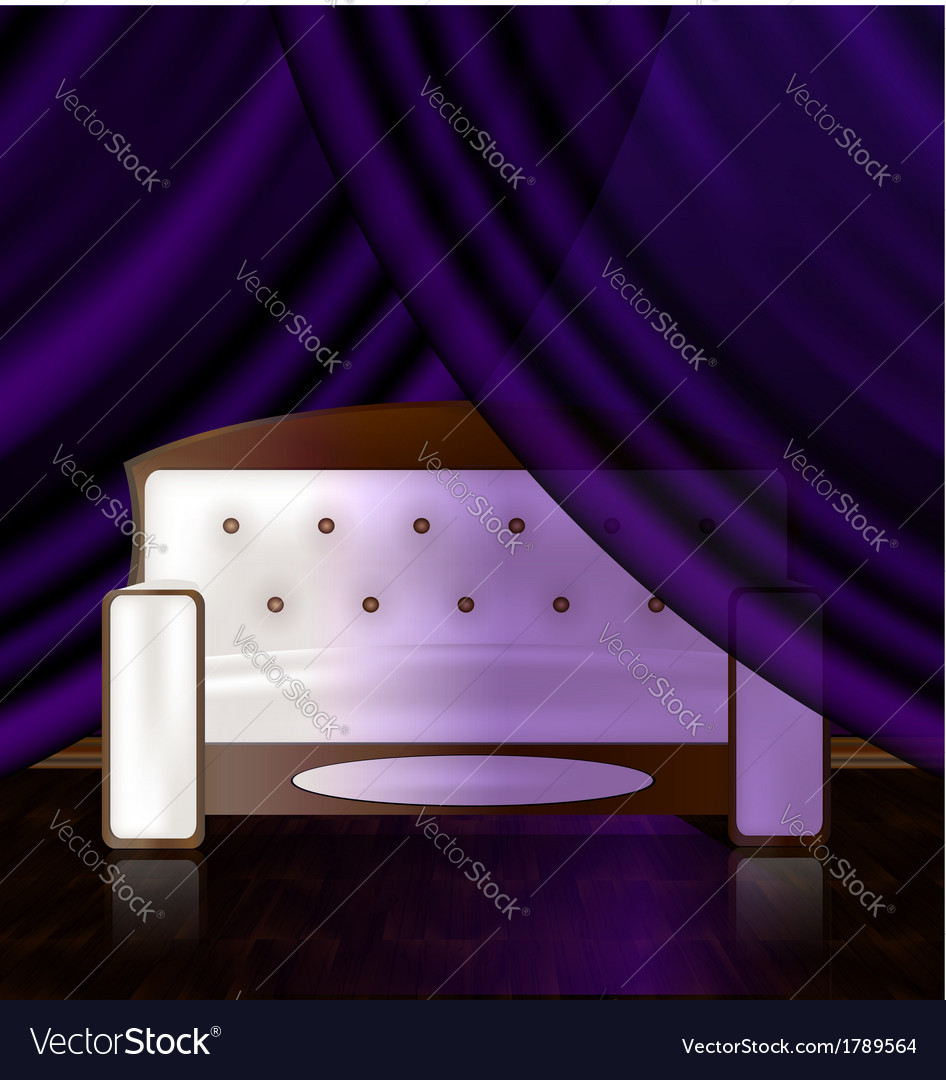 White sofa in the violet room vector | Price: 1 Credit (USD $1)