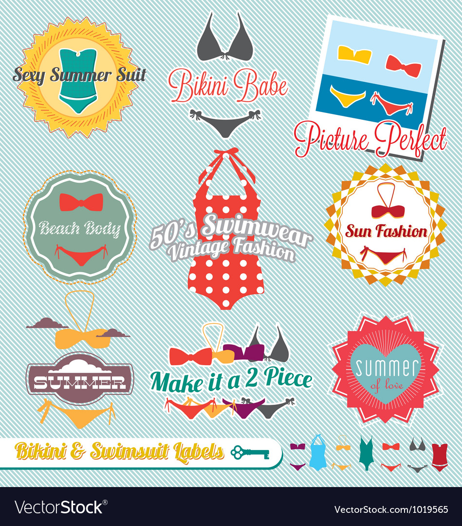 Bikini and swimsuit labels vector | Price: 1 Credit (USD $1)