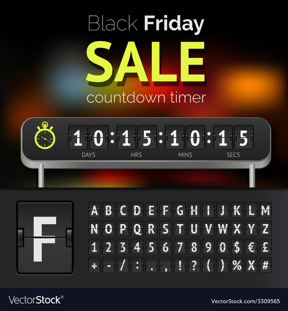 Black friday sale countdown timer vector   Price: 1 Credit (USD $1)