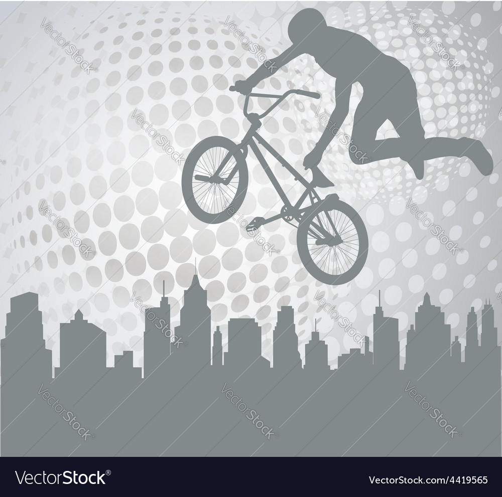 Bmx over abstract background vector | Price: 1 Credit (USD $1)