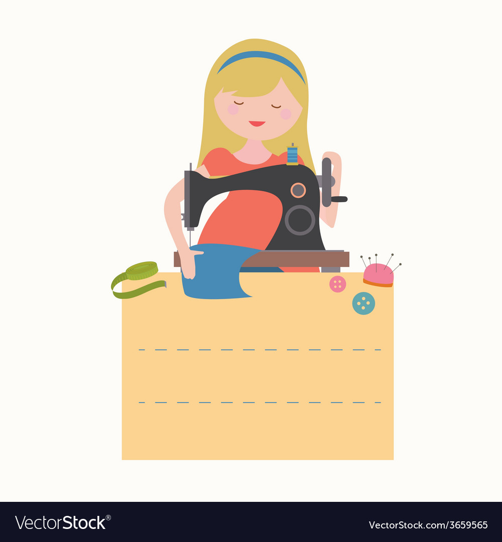 Card with sewing girl vector | Price: 1 Credit (USD $1)
