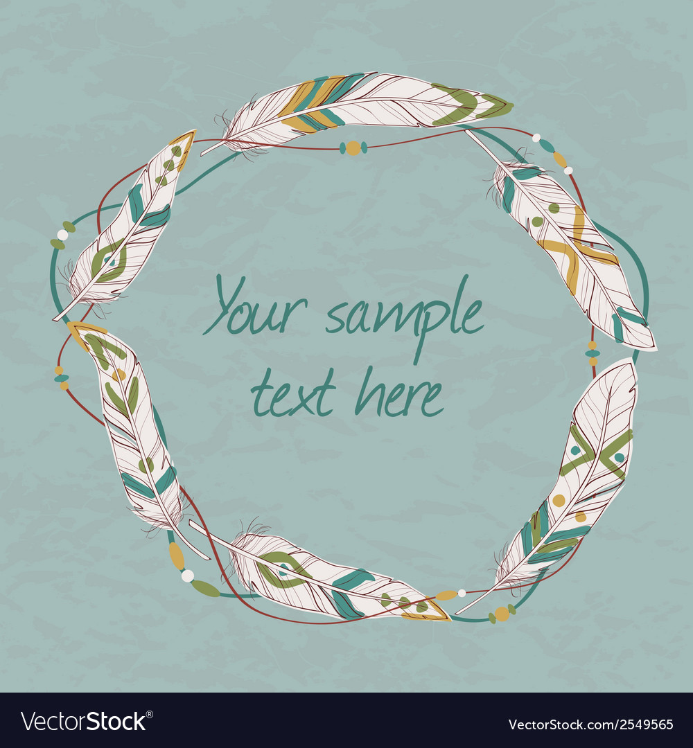 Decorative ethnic frame with feathers threads and vector | Price: 1 Credit (USD $1)