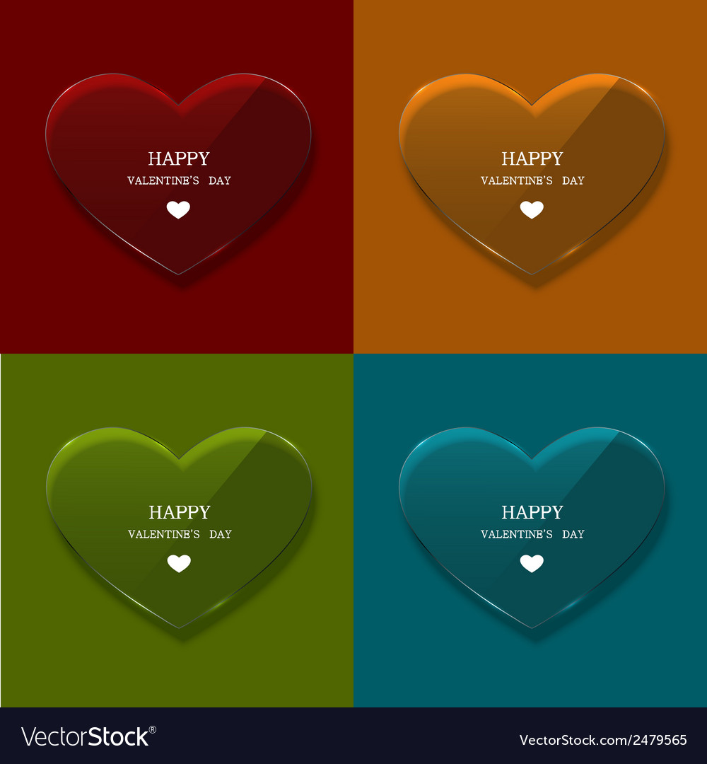 Glass heart set on sample background vector | Price: 1 Credit (USD $1)