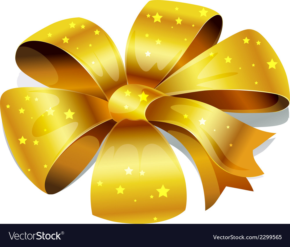 Golden bow isolated on white background vector | Price: 1 Credit (USD $1)