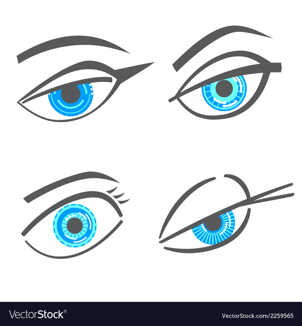 Graphic robot woman look eyes set vector | Price: 1 Credit (USD $1)
