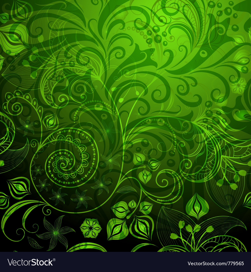 Green vivid floral pattern vector | Price: 1 Credit (USD $1)