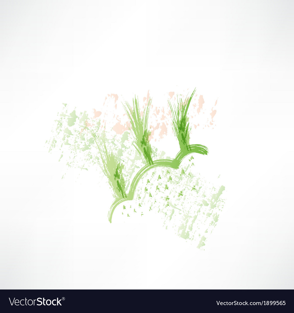 Green wheat grunge icon vector | Price: 1 Credit (USD $1)