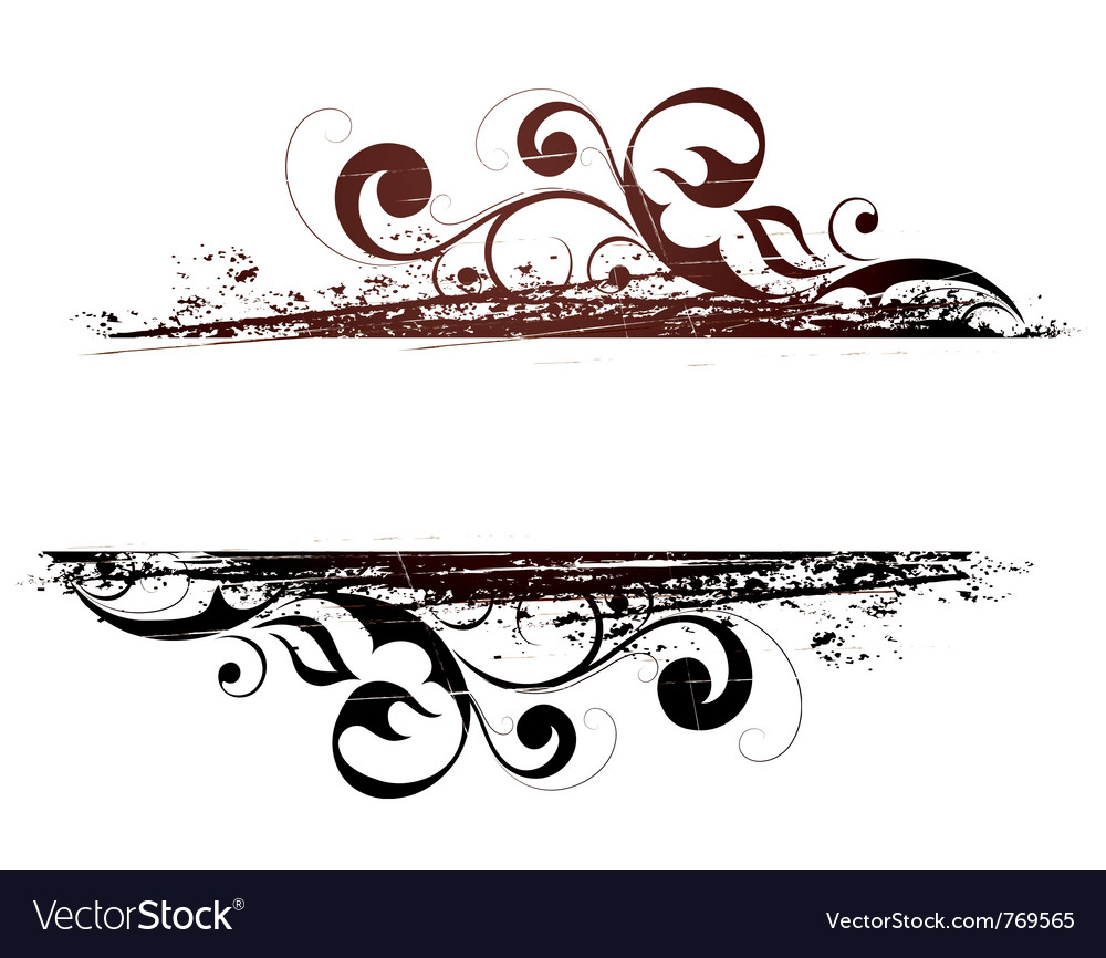 Grunge floral banner vector | Price: 1 Credit (USD $1)