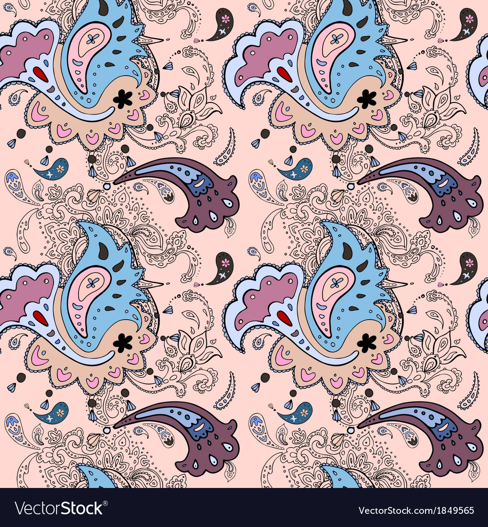 Paisley ornament seamless background vector | Price: 1 Credit (USD $1)