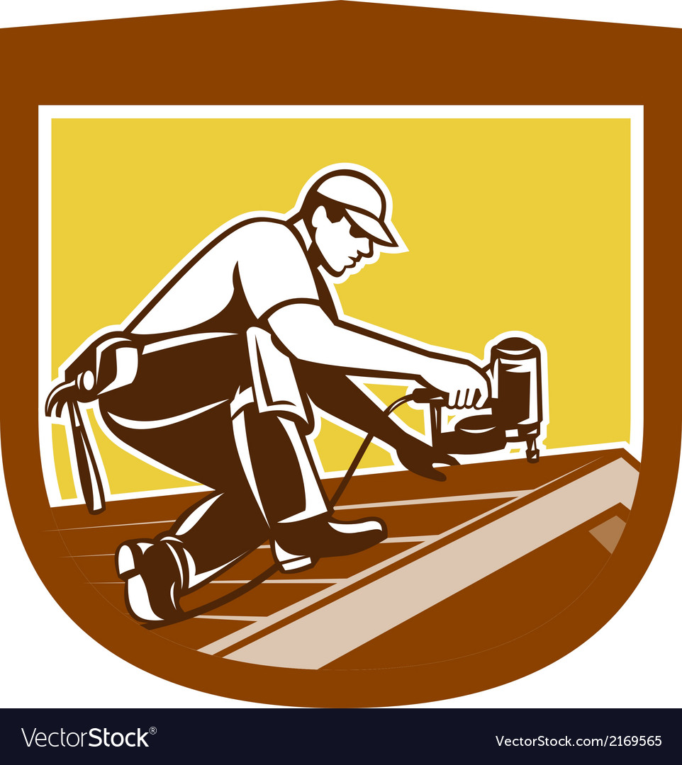 Roofer roofing worker crest shield retro vector | Price: 1 Credit (USD $1)