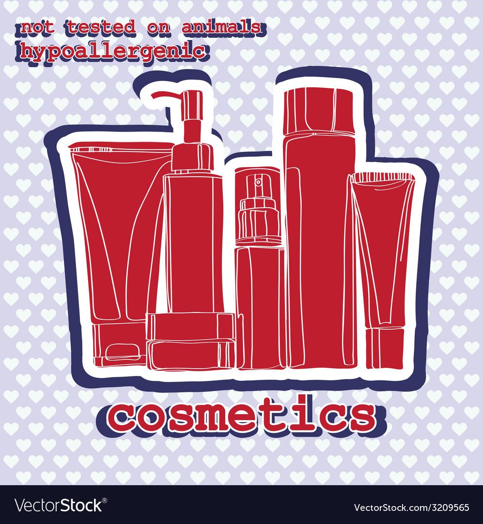 Set of cosmetics sticker vector | Price: 1 Credit (USD $1)