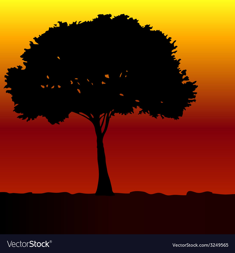 Tree black silhouette vector | Price: 1 Credit (USD $1)