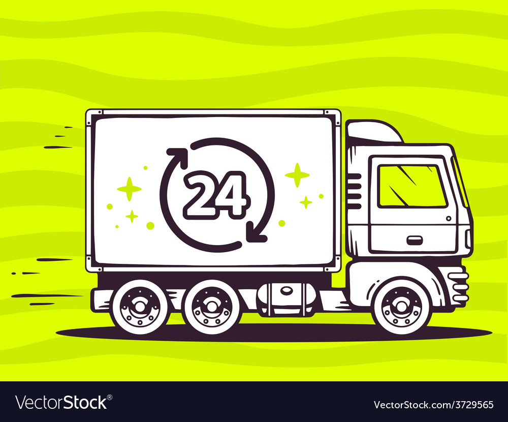 Truck free and fast delivering 24 hours t vector | Price: 1 Credit (USD $1)