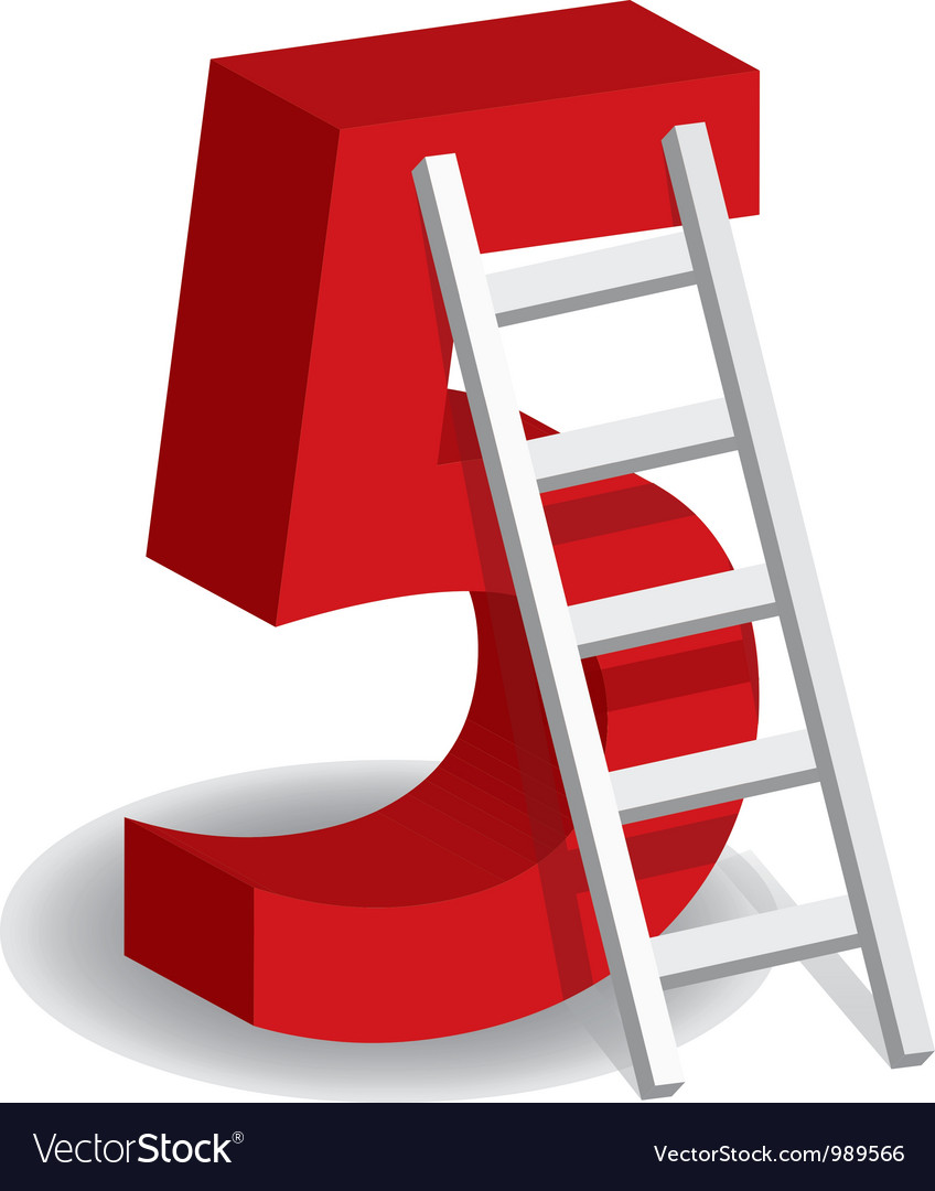 A ladder with the number five vector | Price: 1 Credit (USD $1)