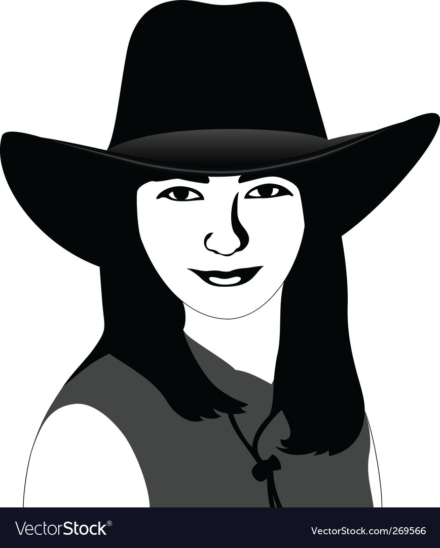 Girl in a cowboy hat vector | Price: 1 Credit (USD $1)