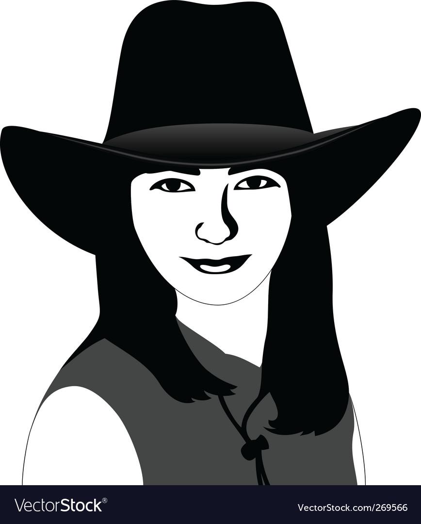 Girl in a cowboy hat vector   Price: 1 Credit (USD $1)