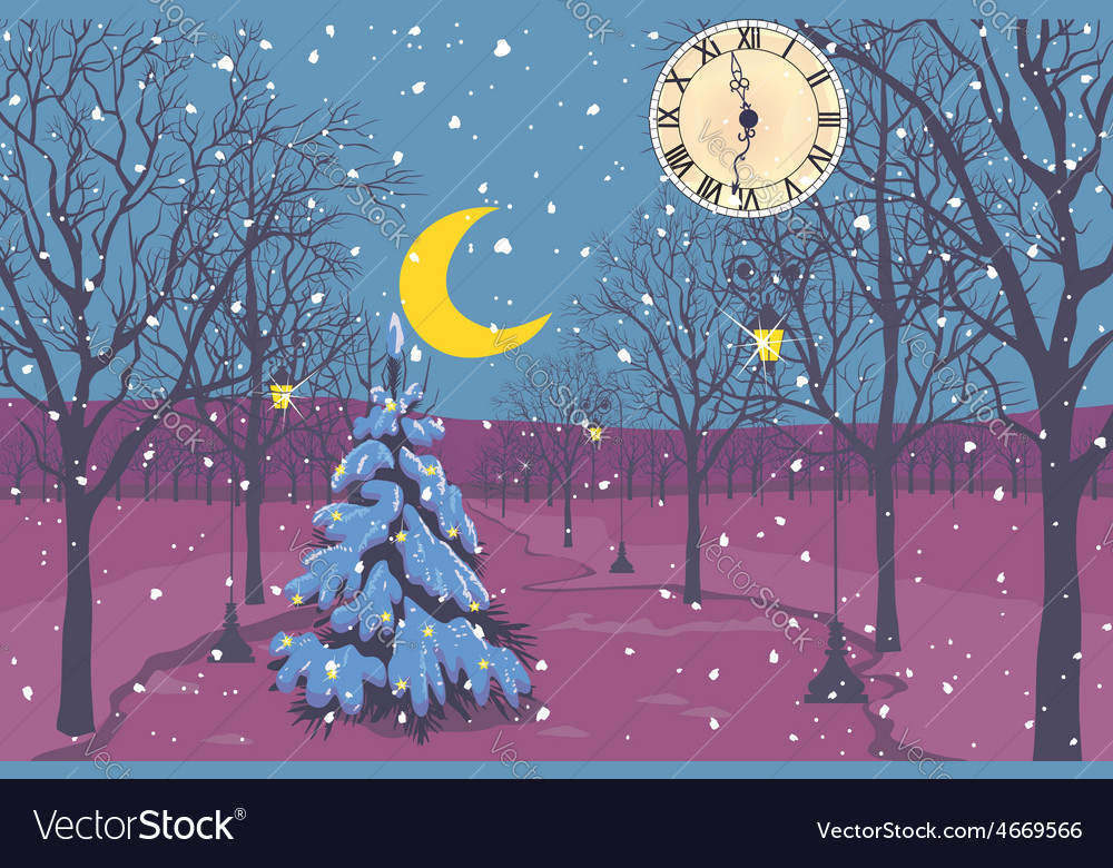 Magic christmas night in a park vector   Price: 1 Credit (USD $1)