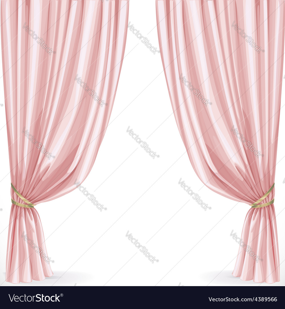Pink curtain isolated on a white background vector | Price: 3 Credit (USD $3)