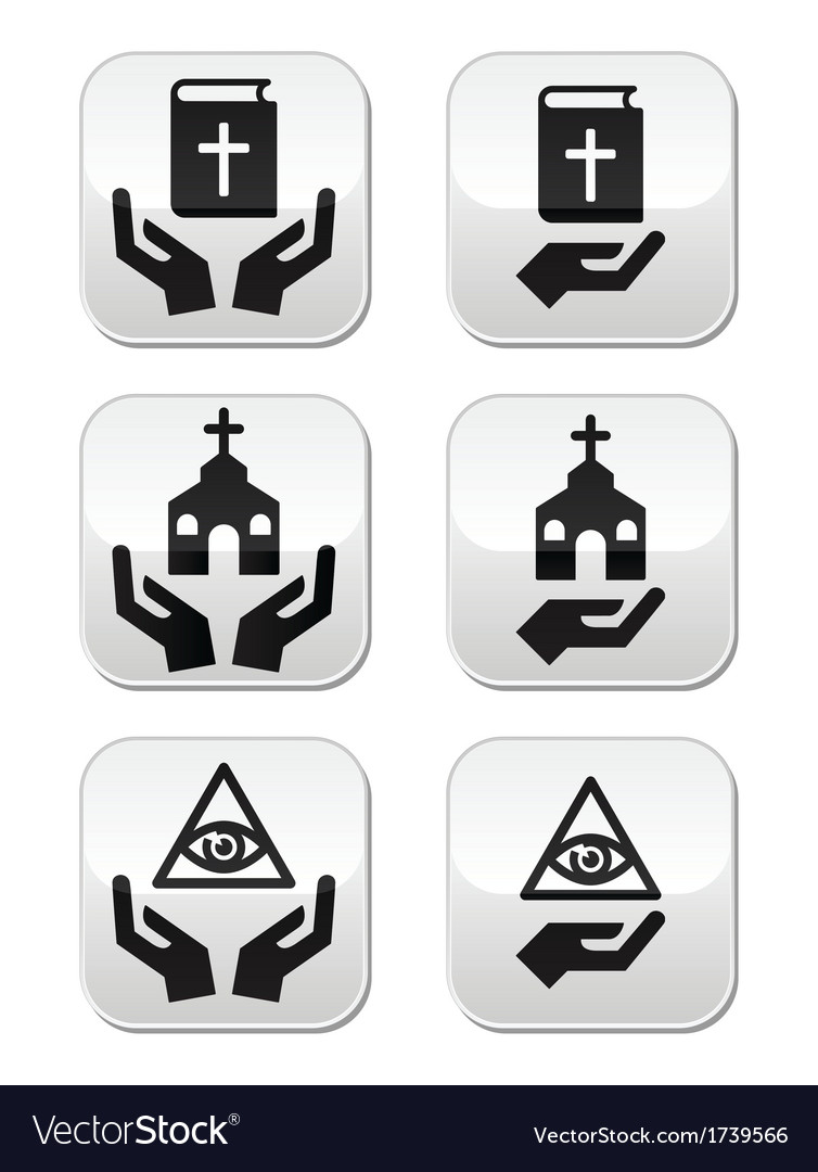 Religion buttons - hands with bible church eye vector | Price: 1 Credit (USD $1)